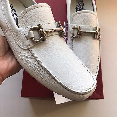 Salvatore Ferragamo New Gancini Drivers Leather Shoes 10