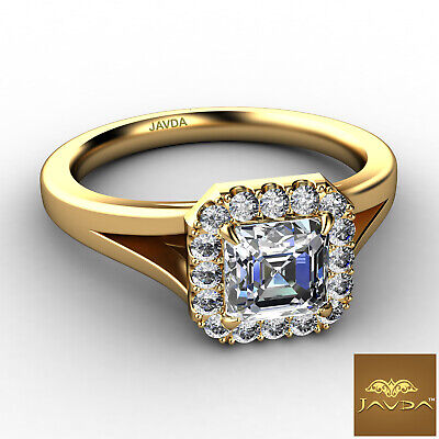 Asscher Diamond Engagement Halo Pre-Set Ring GIA F VS1 18k Yellow Gold 0.92Ct 1