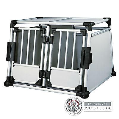 Trixie Doppel Transportbox Alubox Autobox für 2 Hunde Aluminium, 93 × 64 × 88 cm Hundebox Für 2 Hunde