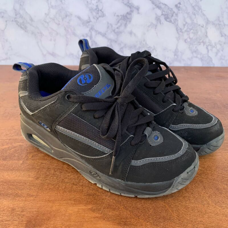 Heelys Skate Shoes Youth Size 5 Style 7046 Black Blue Roller Wheels Lace Up