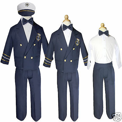 Baby Boy & Toddler Captain Sailor Suit Formal Outfits size New Born to 7yrs Navy - Toddler Sailor Suit