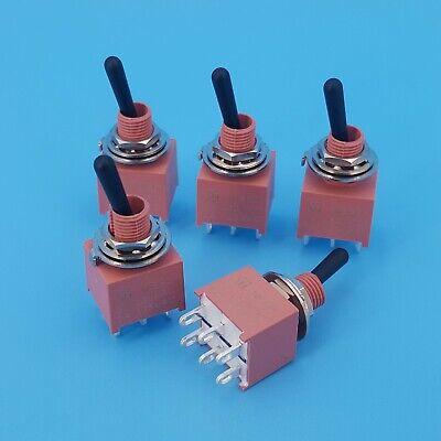 5pcs Sh Ne8011 Sealed Waterproof 6pin On-on Dpdt Black Handle Mini Toggle Switch