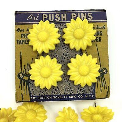 Lot Of 11 Vintage Sunflower Push Pins Thumb Tacks Decor Display Crafts Fun