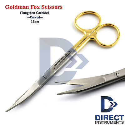 Surgical Goldman Fox Scissors Curved Tc 13cm Tungsten Carbide Tissue Suture Cut