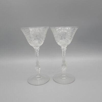 SET OF TWO - Cambridge Crystal WILDFLOWER 3121 Cocktail Glasses