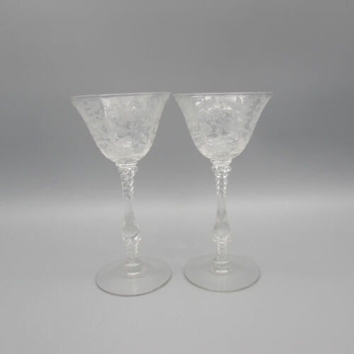 Cambridge Crystal Wildflower 3121 Cocktail Glasses - Set of Two