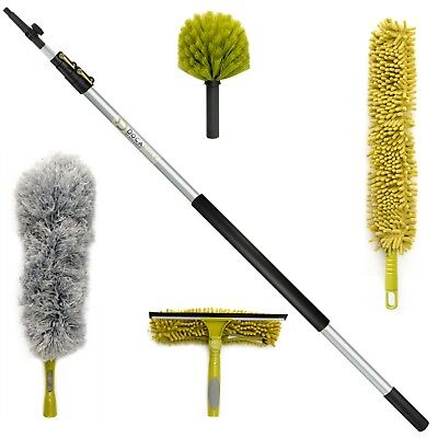 High Reach Duster (DocaPole Cleaning Kit 12 ft Extension Pole / Squeegee & 3 Dusters High)