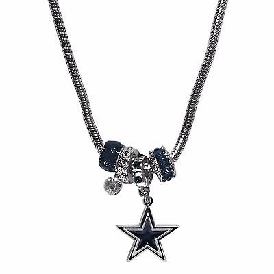 Dallas Cowboys Euro Bead Necklace NFL Football Licensed Rhinestones and Charm](Football Bead Necklace)