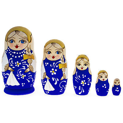5 Pieces Blue Woodburning Style Matryoshka Russian Wooden Nesting Dolls