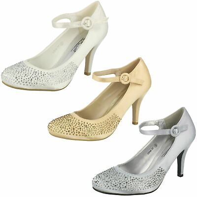 Ladies Anne Michelle Satin Heeled Party Shoes