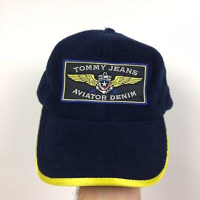 best service 3561c e19f1 Vintage 90 s Tommy Jeans Aviator Denim Big Patch Strap-Back Hat Fleece Rare