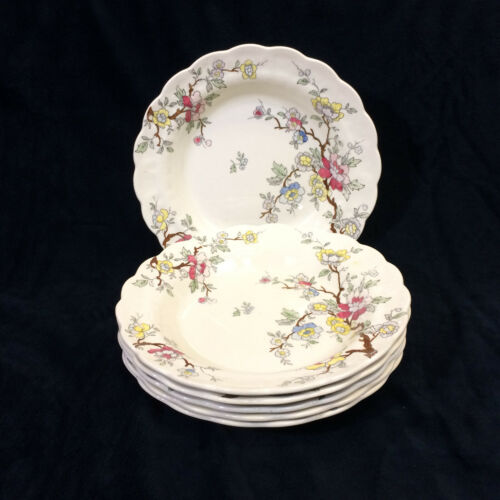 """Booths Chinese Tree Set of 6 Rimmed Soup Bowls 8 1/4"""" Vintage Made in England"""