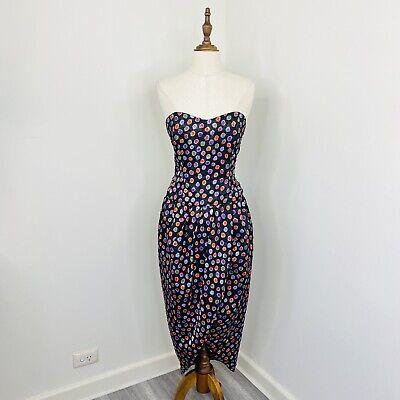 80s Dresses | Casual to Party Dresses Vintage 80s Womens Bustier Pencil Dress Strapless Black Polka Dot fit Size 12 $44.90 AT vintagedancer.com
