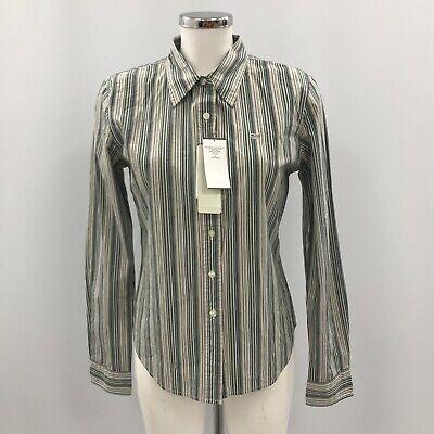 New Ralph Lauren Polo Shirt Ladies Size Large Grey White Striped 020662