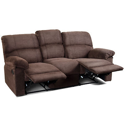 Oversized 3-seat Recliner Sofa Wide Backrest Seat Living Room Sofa Cocoa Chocolate Reclining Sofa