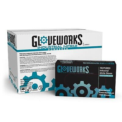 Gloveworks Blue Nitrile Industrial Powdered Disposable Gloves Box Of 100