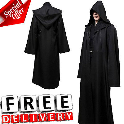 Men Hooded Robe Cloak Adult Kids Cool Costume Jedi Sith Black Star Wars New