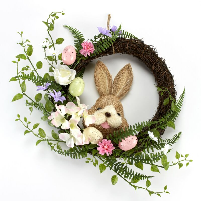 Easter Holiday Bunny Rabbit Faux Floral Wreath with Floral Accents