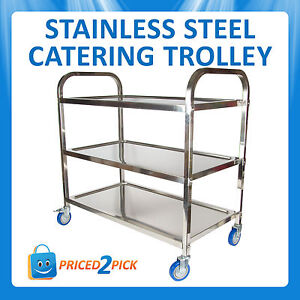 Stainless Steel 3 Tier Serving Trolley Utility Cart Catering Kitchen Drink Food
