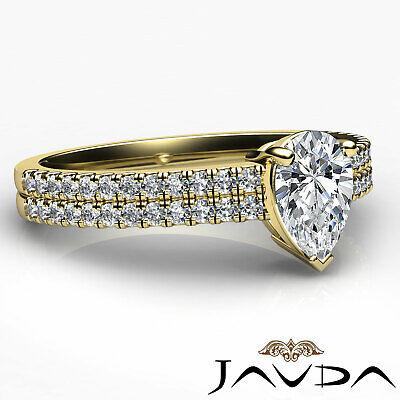 U Cut Prong 2 Row Shank Pear Diamond Engagement Anniversary Ring GIA H VS2 1Ct 9