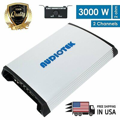 New Audiotek 2 Channel 3000 WATTS Bridgedable Car Audio Stereo Amplifier  AT940S