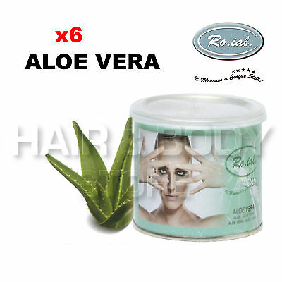 6 Einmachgläser Wachs Aloe Vera Roial Haarentfernungsmittel Topf Titan 400 ML
