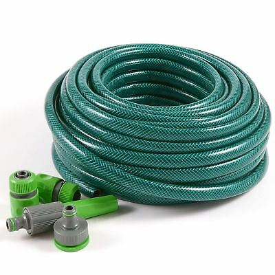30M REINFORCED GARDEN HOSE PIPE TUBE WITH SET SPRAY WATERING NOZZLE SET FITTINGS