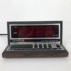 Vintage Spartus Alarm Clock Wood Grain Look Electric Red Digital Display 1140