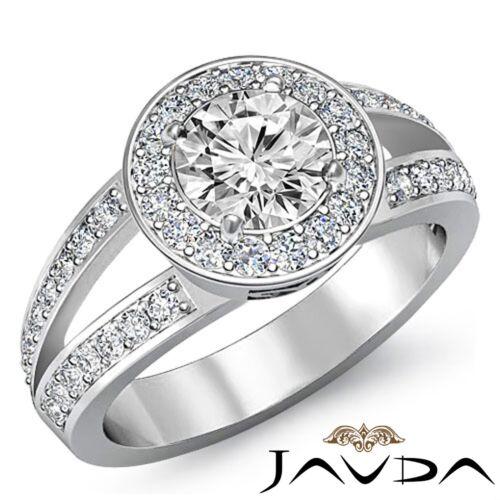 Halo Pave Round Diamond Engagement Javda Ring GIA F VS1 14k White Gold 2.05ct