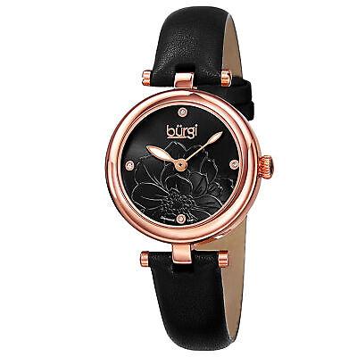 New Women's Burgi BUR128BKR Diamond Markers Black Etched Flower Dial Strap Watch
