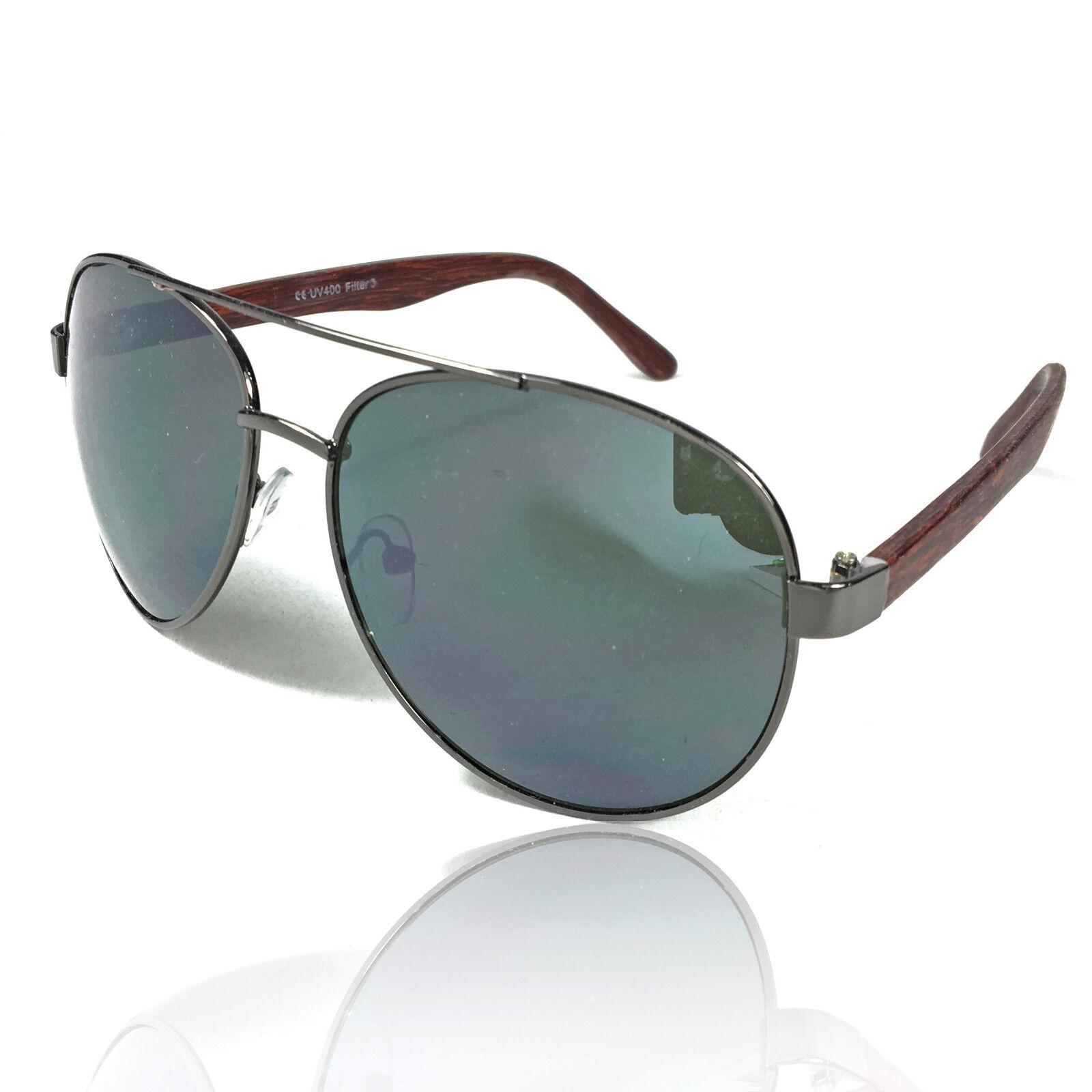 Coole Piloten Sonnenbrille Retro Style Bügel in Holzoptik