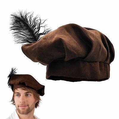 Boys Brown Medieval Friar Tuck Tudor Fancy Book Week Dress Hat Beret Feather (Medieval Boys)
