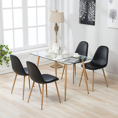 5 Piece Dining Table Set and 4 Eames Style Chairs Glass Metal Kitchen Room