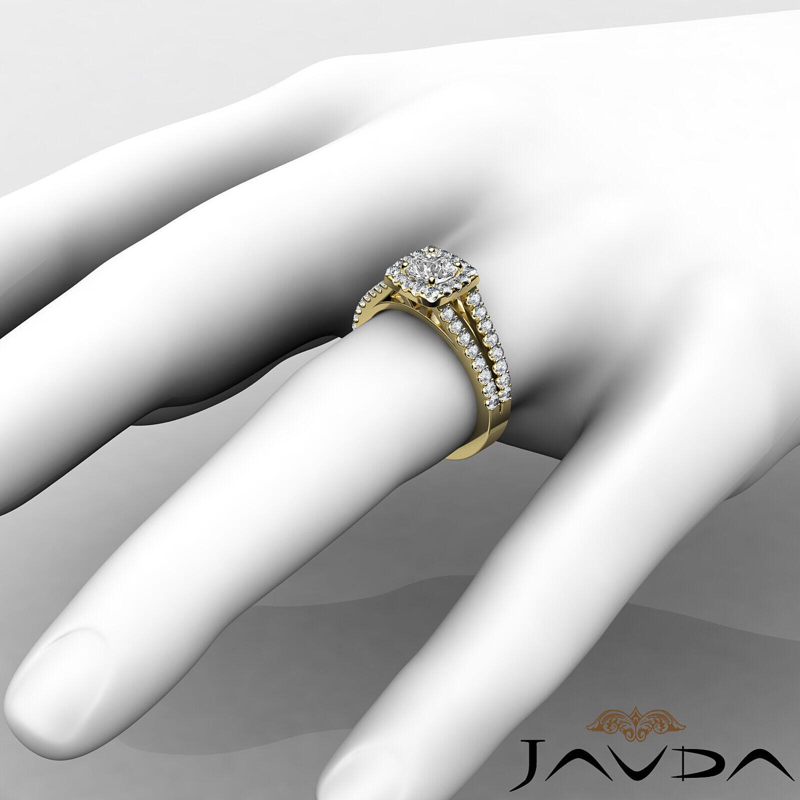 Round Diamond Engagement Halo Split Shank Ring GIA E VVS1 14k White Gold 1 1/4ct 5