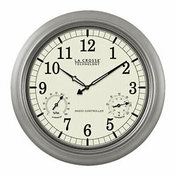 La Crosse Technology 18in. Analog Atomic Temperature Wall Clock Indoor Outdoor