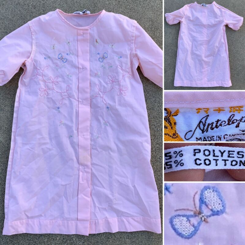 Vintage Pink Gown Nightgiwn Embroidered Girl Baby Toddler Antelope China 23
