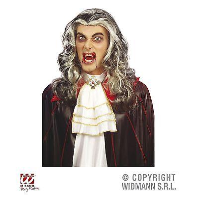 Vampir Langhaar Perücke schwarzgrau Kostüm Zubehör Dracula Halloween Fasching