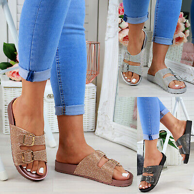 Buckle Mule Sandals (Ladies Womans Buckle Slip On Mule Summer Sliders Flatform Sandals Shoes Size 3-8)