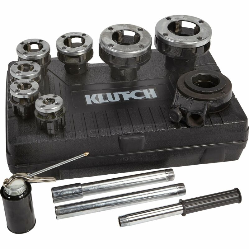 Klutch Ratcheting Pipe Threader Set - 12-Pcs.