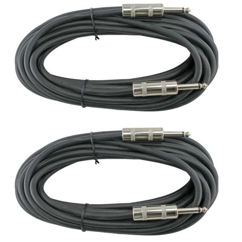"""2 PA AMP DJ PAIR Speaker Cables cords 16ga gauge 25 ft foot 1/4"""" to 1/4 inch"""