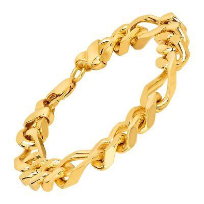 """Solid Figaro Link Bracelet in 18K Gold-Plated Bronze, 8.5"""""""