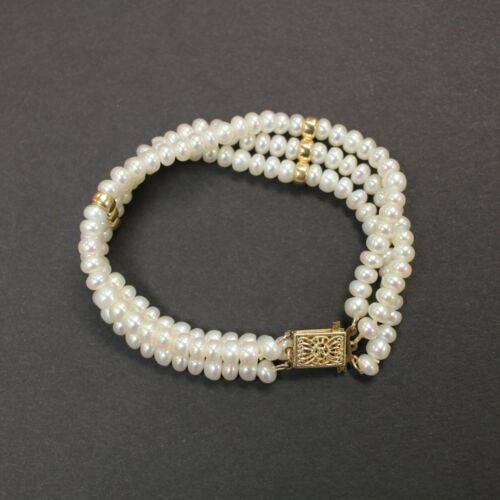 """Pearl Bracelet 7"""" Triple Three 3 Multi Strand with 14K Yellow Gold ($280 value)"""