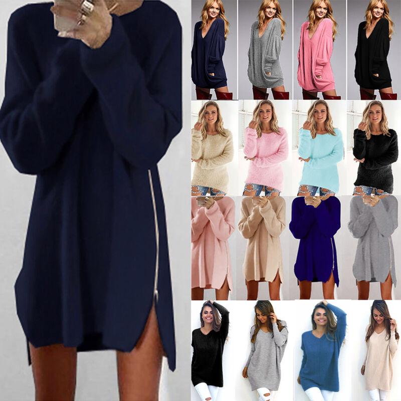 Damen Sweater Pullover Strickpullover Tunika Pulli Oberteile Sweatshirt Bluse