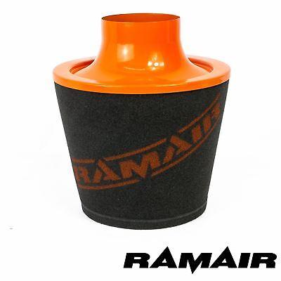 Ramair Orange Aluminium Induction Foam Air Filter Universal 90Mm Od Neck
