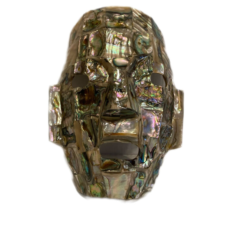 """Abalone Shell Mask Burial Death Abalone Inlay 7.5"""" Face"""