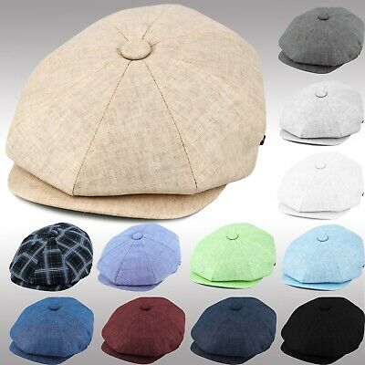 Linen Applejack Cool Summer Newsboy Cap Mens Women's Driving Golf Hat ENsb2100