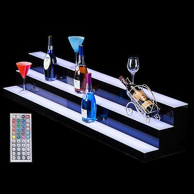 60 3 Step Tier Led Lighted Shelf Illuminated Liquor Bottle Bar Display Stand