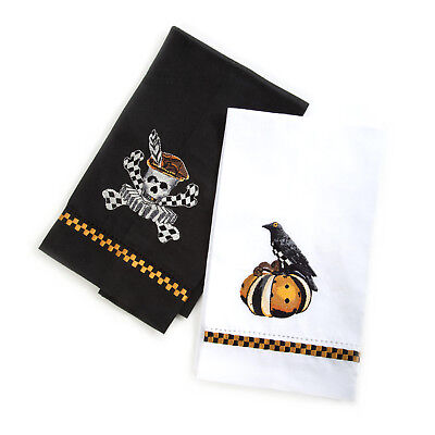 Mackenzie-Childs Guest Towels-Set Of 2 Elizabethan Halloween-With Skull & Raven - Mackenzie Childs Halloween