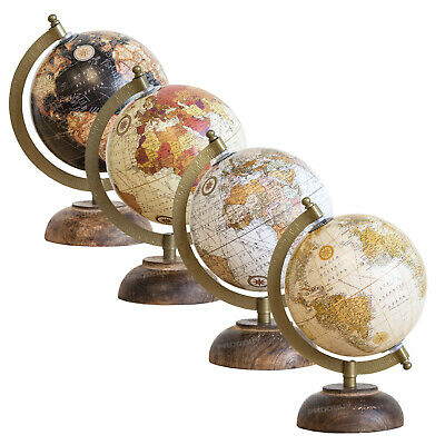 21.5cm World Globe Wood Base Vintage Rotating Atlas Map Home Decor Desk Ornament