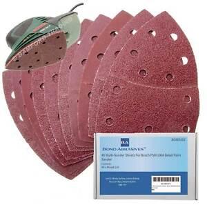 40 Bond Abrasive Sanding Sheets For Bosch PSM 100A Detail Palm Sander Mixed Grit